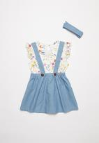 POP CANDY - Skirt with braces & tee set - blue & white