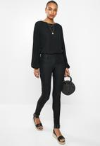 edit - Pleated sleeve blouse - black