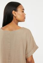 edit - Linen ss tunic dress - taupe