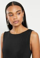 edit - Sleeveless flare hem tie fit & flare dress - black