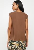 edit - Woven basic shell - brown