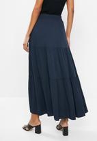 edit - Twill tiered maxi skirt - navy