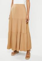 edit - Twill tiered maxi skirt - hazelnut