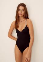 MANGO - Swimsuit wavy - black
