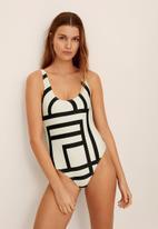 MANGO - Swimsuit marcel - white & black