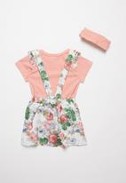 POP CANDY - Floral skirt with braces & tee set - pink & white