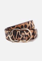 Rubi - Double circle belt - beige & brown