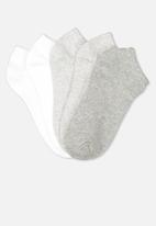 Cotton On - 5 Pack ankle sock - grey & white