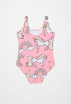 POP CANDY - Girls unicorn swimsuit - pink & white