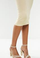 Missguided - Faux bamboo ring one shoulder midi dress - neutral