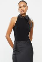 MILLA - Bow detail bodysuit - black