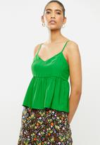 Blake - Satin cami tiered top - green