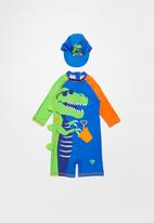 POP CANDY - Boys dino swimsuit - green & blue