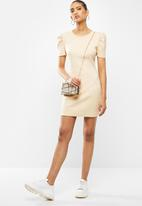 Blake - Ribbed bodycon mini dress - beige