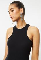Blake - Ribbed mini dress with racer neckline - black