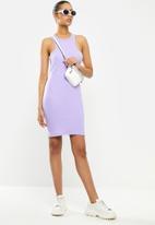 Blake - Ribbed mini dress with racer neckline - lavender