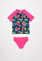 POP CANDY - Girls floral swimset - black & pink