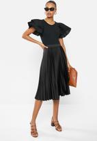 MILLA - Pleated wrap midi skirt - black