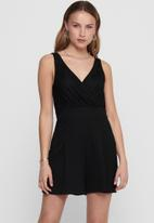 ONLY - Monna sleeveless wrap playsuit - black