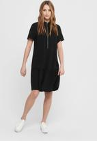 ONLY - Ranona short sleeve zip dress - black