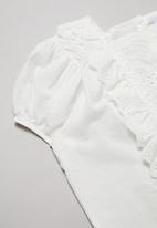 Rebel Republic - Girls ruffle trim top - white