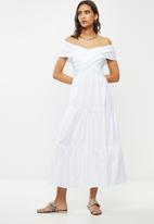 VELVET - Bardot wrap dress - white