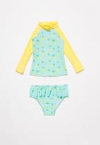 POP CANDY - Pineapple 2 piece swimsuit - aqua & yellow