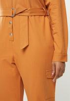 Glamorous - Plus ginger military jumpsuit - ginger
