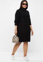 Brave Soul - Curve roll neck jumper dress - black