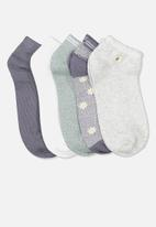 Cotton On - 5 pack ankle sock - grisaille daisy