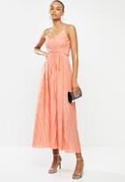 ONLY - Elema short sleeve maxi wrap dress - coral