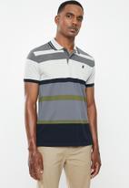 POLO - Jule stripe custom fit golfer - navy & grey