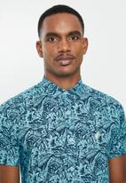 POLO - Victor floral signature short sleeve shirt - aqua