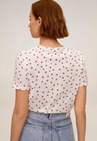 MANGO - T-shirt pschalo - white & red