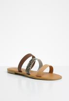Superbalist - Luna leather slide - brown & beige