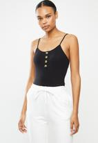 Brave Soul - Spagetti strap button through bodysuit - black