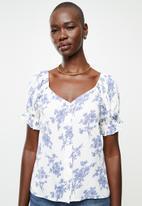 MANGO - Blouse sere - white & blue