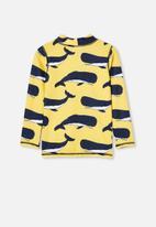 Cotton On - Flynn long sleeve rash vest - yellow & blue