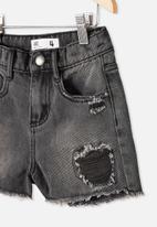 Cotton On - Sunny denim short - black wash/rips
