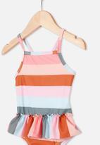 Cotton On - Lucinda ruffle swimsuit - gemma stripe