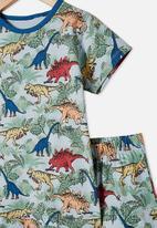 Cotton On - Hudson short sleeve pj set - colourful dinosaur frosty blue