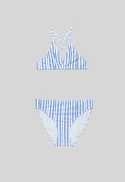 Rebel Republic - Girls stripe bikini - blue