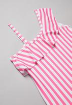 POP CANDY - Stripe off the shoulder one piece swimsuit - pink & white