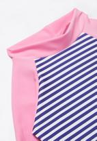 POP CANDY - Stripe 2 piece swimsuit - navy & pink