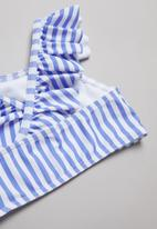 POP CANDY - Stripe two piece frill swimsuit - blue & white