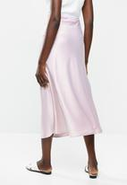 VELVET - Satin bias midi skirt - ice lilac