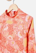 Free by Cotton On - Lindsay long sleeve one piece - retro coral folk floral