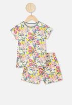 Cotton On - Harpa short sleeve pj set - vanilla meadow print
