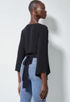 Superbalist - Wide sleeve wrap blouse - black