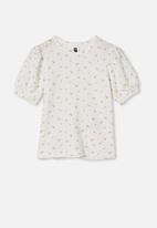 Cotton On - Jasmine puff sleeve top - vanilla ditsy floral